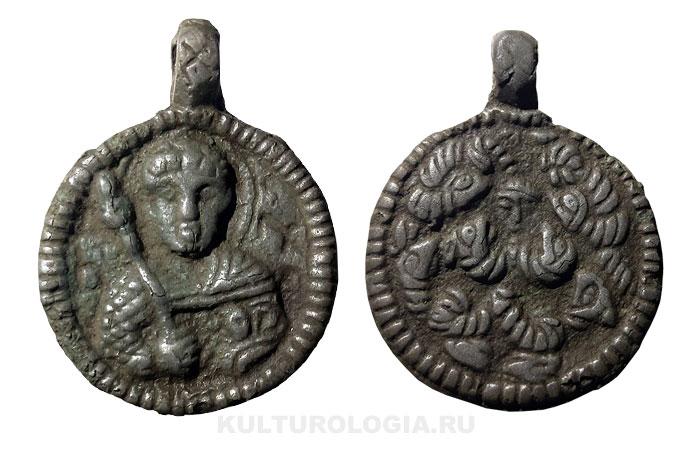 Образок-змеевик с изображением Св. Георгия, XII век.