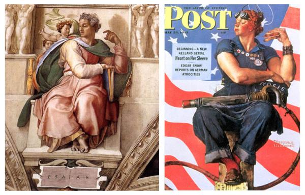 Микеланджело, 'Исаия', 1509 г. Современный взгляд: Норман Роквелл , 'Рози Клепальщица' 1943 г.
