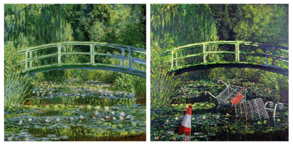Клод Моне, 'Мост через Пруд водяных лилий', 1899 г. Современный взгляд: Бэнкси