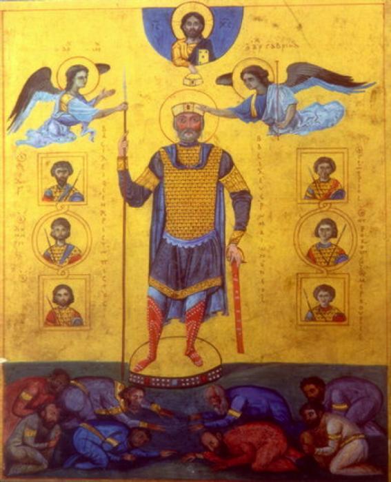 Император Василий II Болгаробоец на иконе.