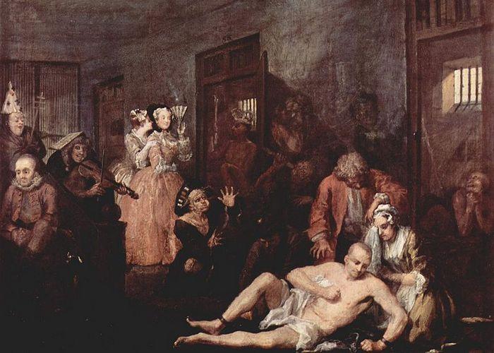 Сцена из Бетлемской больнице. Цикл Уильяма Хогарта «Карьера мота».
