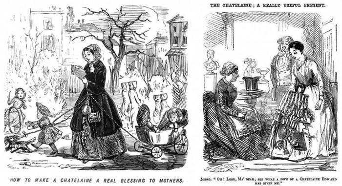 """Юмористический рисованный комикс 19 века из журнала """"Панч"""", в котором высмеивались дамы, носящие шатлены."""