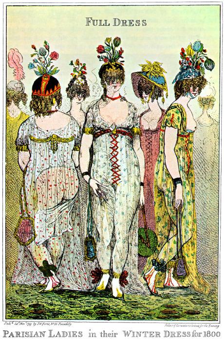 Карикатуры на откровенные платья Маргэйн-Лакруа.