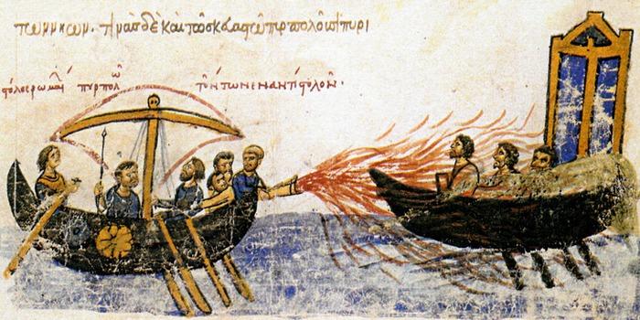 Византийский флот использовал «греческий огонь».