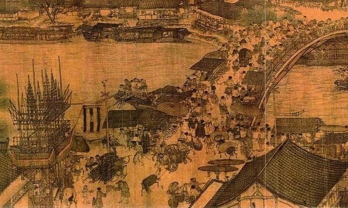 Китайская рыночная площадь с магазинчиками и киосками. Крупный план части картины Зханг Зедуана (1085-1145)