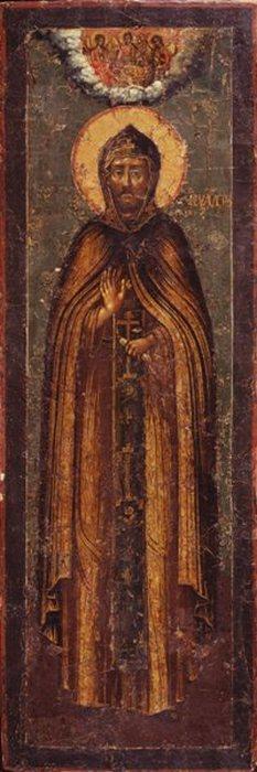 Так выглядит мерная икона: святой покровитель в полный рост и сверху изображение Святой Троицы.