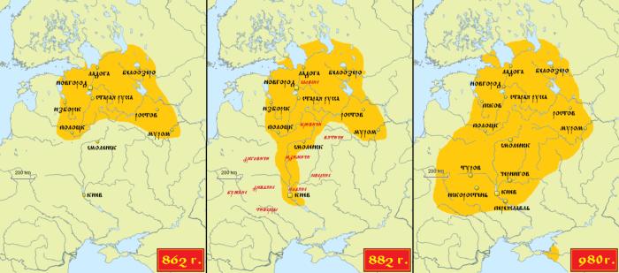 Территория Древней Руси: от Вещего Олега до Владимира Красное Солнышко.