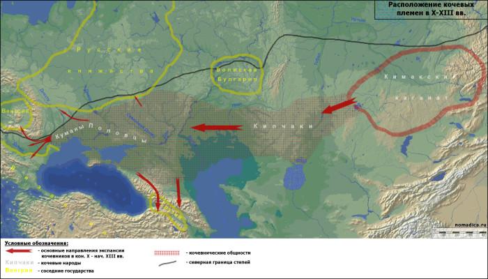 Карта расположения кочевых племён.