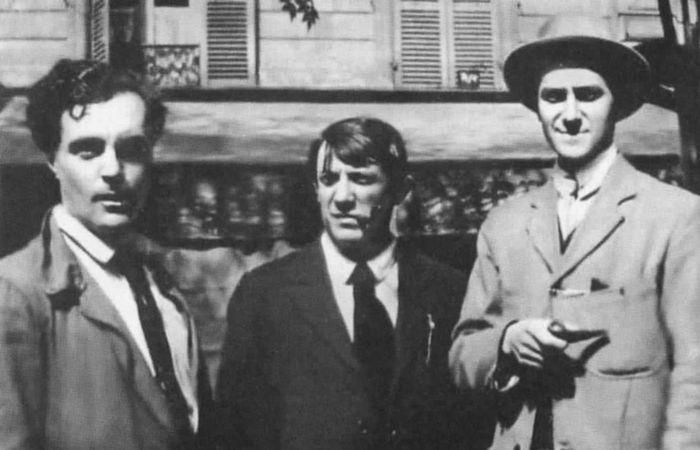 Модильяни, Пикассо и поэт Андре Сальмон./фото: a-modigliani.ru
