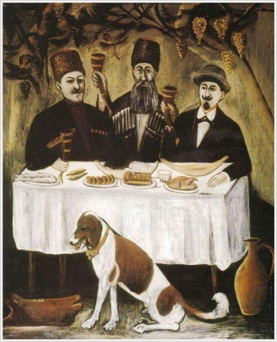Нико Пиросмани (Грузия, 1862 - 1918) «Кутеж в виноградной беседке»
