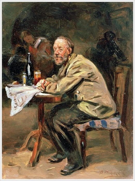 Владимир Егорович Маковский (Россия, 1846 - 1920) «За бутылкой. Пьющий»