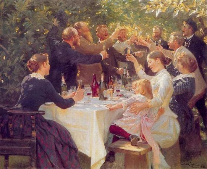 Педер Северин Крёйер (1851 - 1909) «Хип-хип-ура! Встреча артистов в Скагене »1888