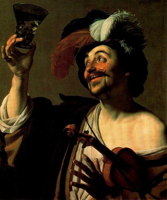 «Скрипач с бокалом вина», 1624. Геррит ван Хонтхорст.