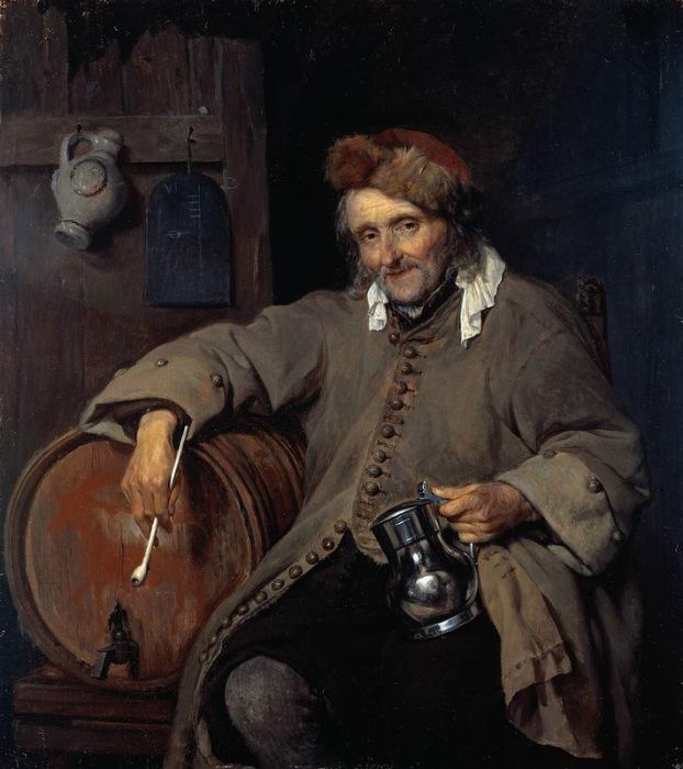 Габриэль Метсю. «Старый пьяница», 1658
