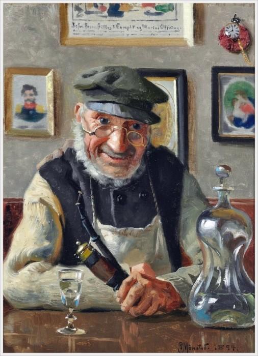 Петер Мёнстед (Дания, 1859-1941) «Старик с трубкой и аквавитом».