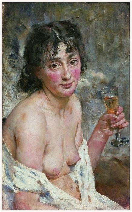 Ханс Олаф Хейердал (Швеция, 1857-1913) «Девушка с шампанским»