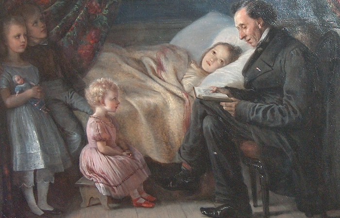 Андерсен читает детям./фото: upload.wikimedia.org