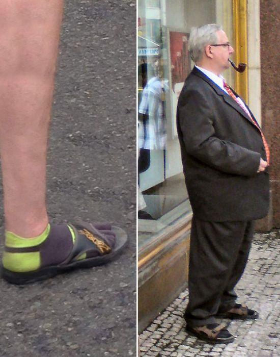 Старомодная тенденция: носки с сандалиями./фото: restnova.com