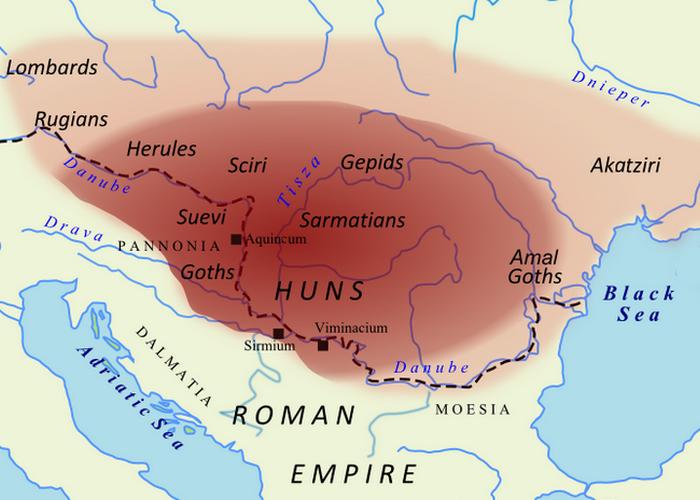 Империя гуннов и подчиненных ему племен во время Аттилы. / Фото: thevintagenews.com