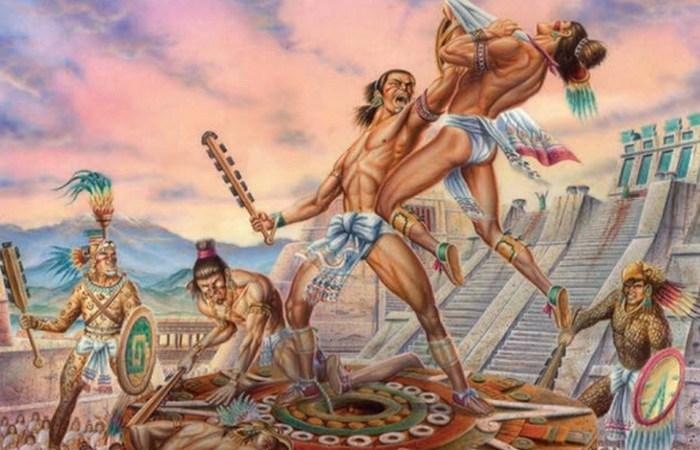 Жуткий ритуал ацтеков: гладиаторские бои./фото: listverse.com