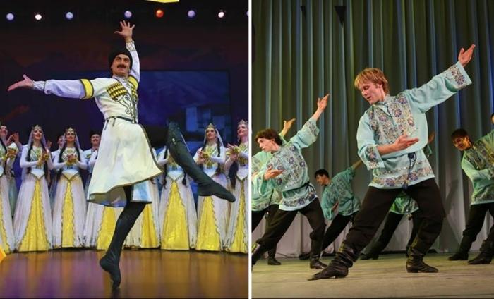 Русский танец и лезгинка на одной сцене