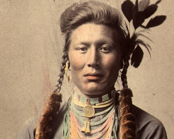 Старый Койот (или Желтый пес), племя кроу. Оригинал фотографии 1879 года, цветная ретушь 1910 года.
