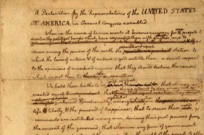 Оригинал декларации Томаса Джефферсона.