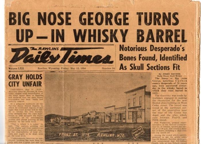 Статья в местной газете сообщает о находке останков «Большого Носа» в 1950 году в Роулинсе