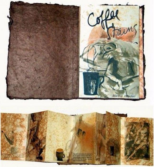 Книга с пятнами кофе.