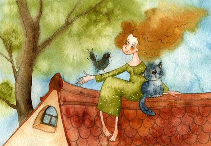 Сидела женщина с котом...