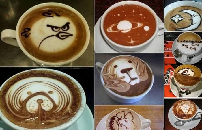 Рисунки на кофейной пене./ Фото: fashionfreax.net