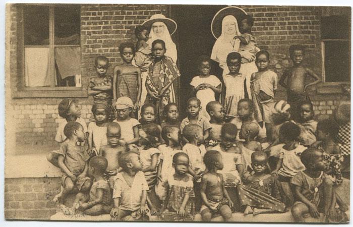 Бельгийская открытка миссионерского детского дома в Конго.