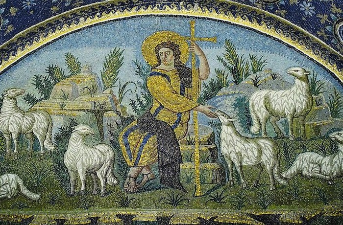Раннее изображение Христос - Добрый Пастырь.