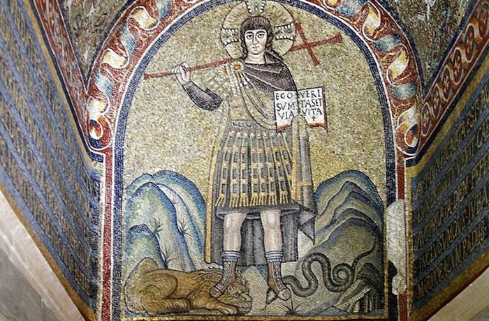 Раннее изображение Христа в часовне архиепископа в Равенне.