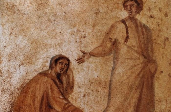 Раннее изображение Христа в римских катакомбах.