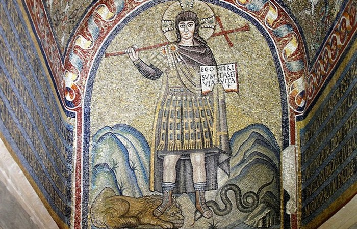 Христос, попирающий зверей. часовня архиепископа в Равенне.