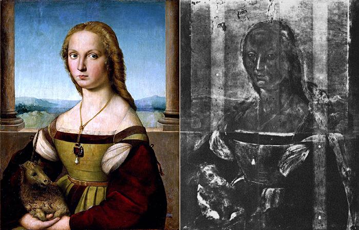 Слева: Дама с единорогом. Рафаэль, ок. 1506 г. Справа: Рентгеновский снимок картины.
