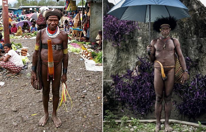 Мужчины из племени в дани в традиционных котеках.
