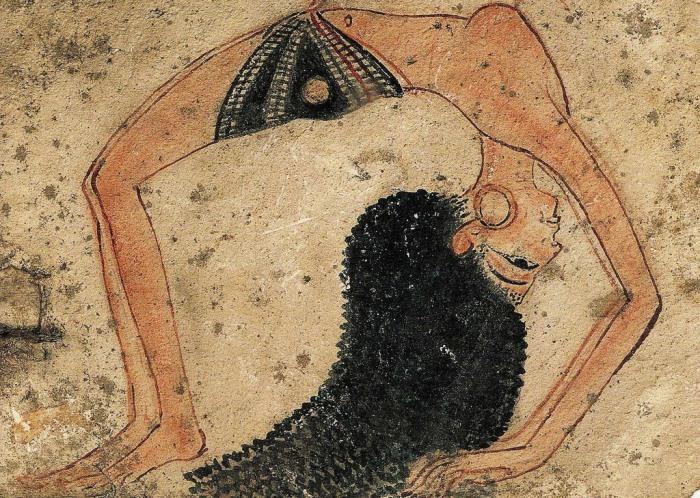 Акробатка. Роспись на остраконе. 13 в. до н.э. Турин, Египетский музей.