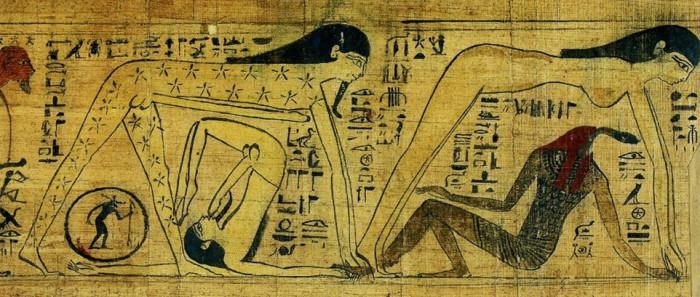 Вселенная в виде сочетаний мужских и мужского и женского начал. Фрагмент виньетки мифологического папируса жрицы Хентуттауи. 10 в. до н.э. Лондон, Британский музей.
