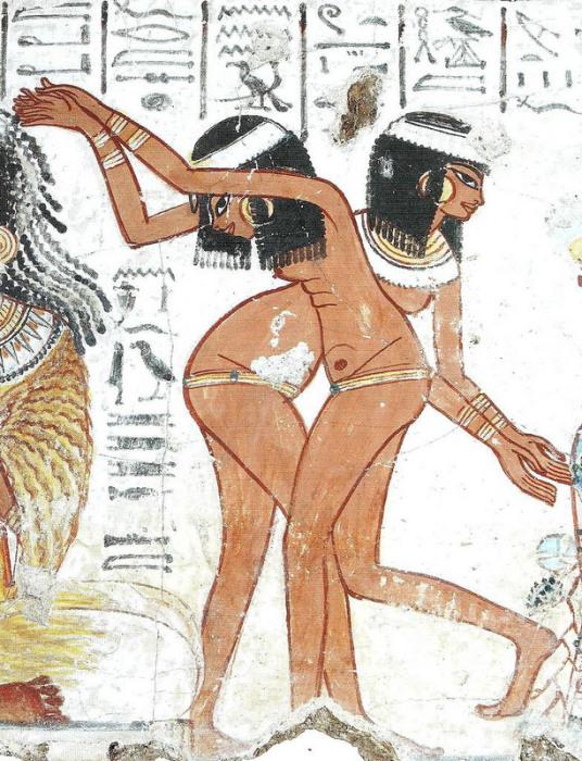 Обнаженные танцовщицы на пиру. Роспись из гробницы вельможи Небамона. 15 в. до н.э. Лодон, Британский музей.