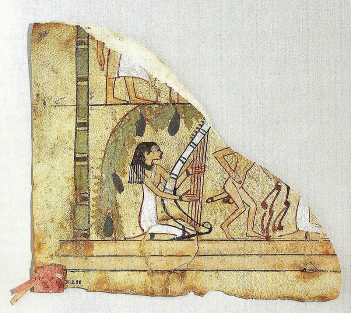 Кусок кожаного покрова из Дейр эль-Бахри. 15 в. до н.э. Нью-Йорк, Музей Метрополитен.