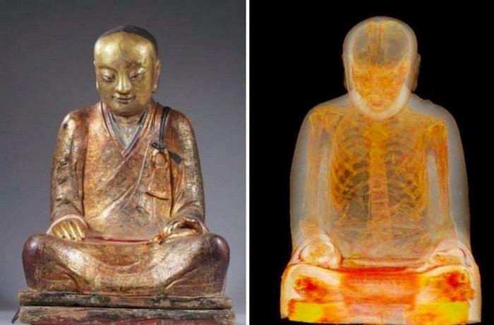 Мумия внутри 1000-летней статуи Будды.