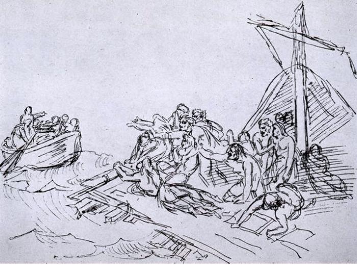 Шлюпка отплывает от плота. Эскиз Теодора Жерико к картине «Плот Медузы».