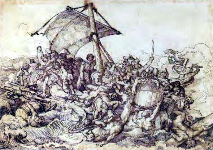Битва на плоту. Эскиз Теодора Жерико к картине «Плот Медузы»..
