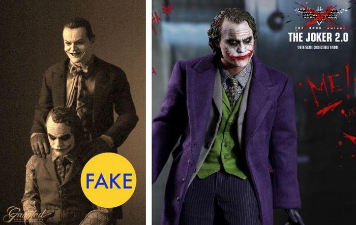 Хит Леджер и Джек Николсон, позирующие для фильма Джокер.