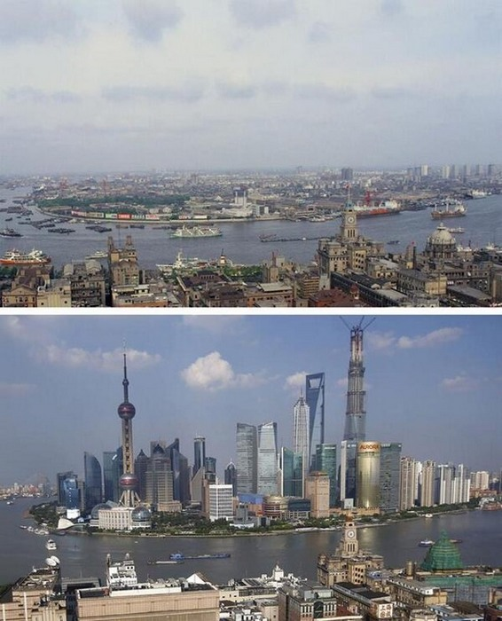 Шанхай в 1987 году и в 2015 году.