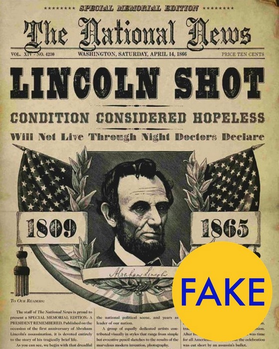 Газета об убийстве Линкольна.