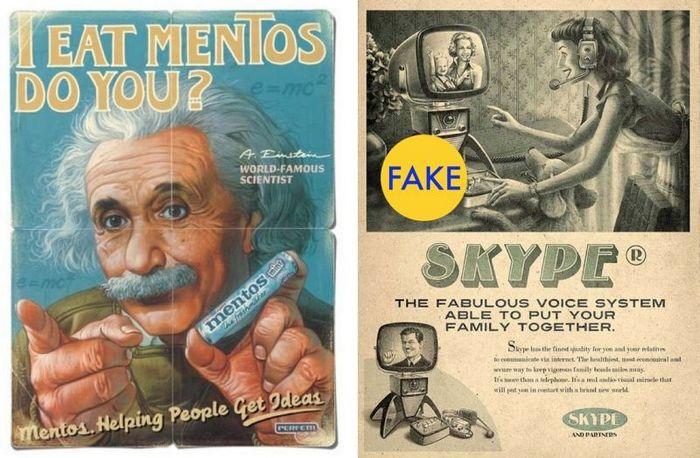 Альберт Эйнштейн в старинной рекламе Mentos.