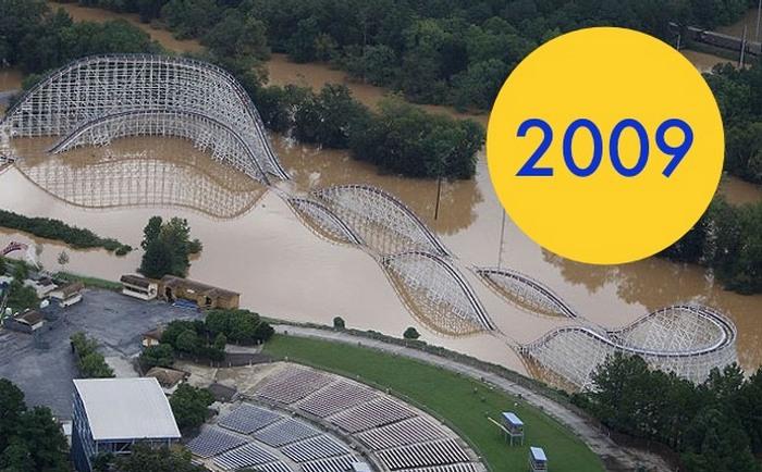 Парк развлечений Six Flags в Техасе, который погрузился под воду.